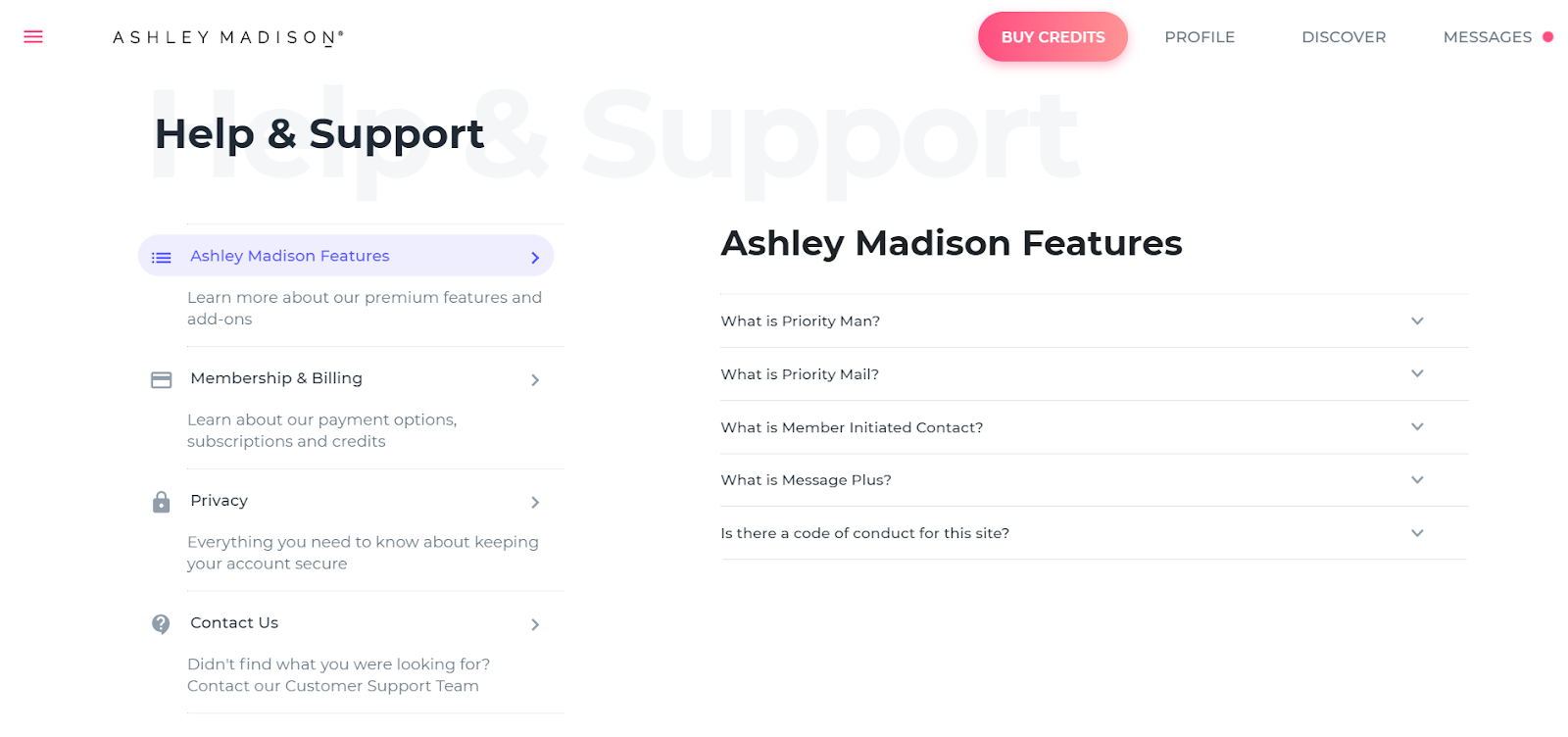 AshleyMadison support